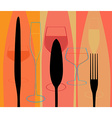 Menu with cutlery and glasses vector image