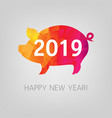 new year card origami boar vector image vector image