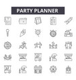 party planner line icons signs set vector image