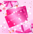 poster with gift cards pink gift box and confetti vector image
