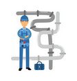 Proffesional plumber character at work plumbing