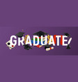 realistic graduate background vector image vector image
