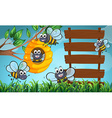 Scene with bees and wooden sign vector image vector image