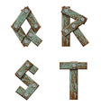set letters from boards with nails vector image