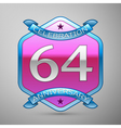 Sixty four years anniversary celebration silver vector image vector image