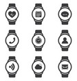smart watch icons set with fitness tracker and vector image vector image