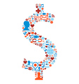 Social media icons set in dollar symbol vector image vector image