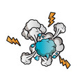 speech bubble with cloud and thunder isolated icon vector image