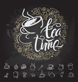 tea time hipster vintage stylized lettering vector image vector image