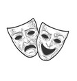 theater masks sketch vector image