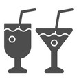 two cocktail glasses solid icon different vector image vector image
