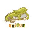 unique crocodile cartoon reptile animal hand drawn vector image vector image