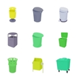 Waste rubbish icons set cartoon style
