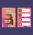 wine map cover and prices with barrel and bottle vector image vector image