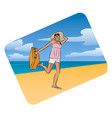young pretty traveller with a suitcase on the vector image vector image