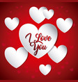 white and red hearts flying i love you card vector image