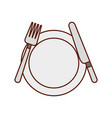 kitchenware dish knife and fork cooking vector image