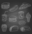 hand drawn of fast food vector image