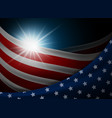 american or usa flag with light background vector image vector image