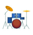 big drum set in blue corpus on metal stands vector image vector image