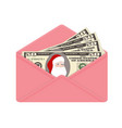bill one hundred dollars with santa claus in open vector image vector image