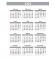 calendar 2020 week starts from sunday business vector image