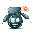 cartoon bomb fuse wick spark icon disgust vector image