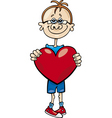 cartoon illustration of cute boy with big heart vector image vector image