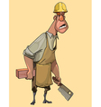 cartoon man mason worker in a helmet and holding a vector image vector image