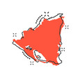 cartoon nicaragua map icon in comic style vector image vector image