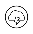 cloud and thunder icon in circle line - vector image vector image