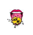 comic text pop art tongue mouth girl power vector image vector image