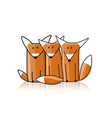 cute foxes sketch for your design vector image vector image