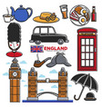 england uk travel destination famous tourist vector image