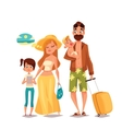 Family with two children and luggage arrived vector image