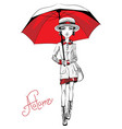 fashion girl in autumn clothes vector image vector image