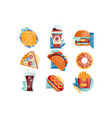 flat icons with fast food and drinks vector image vector image
