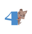 funny cute wolf animal and number four birthday vector image vector image