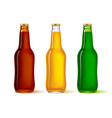 glass bottles set of different colors with the vector image
