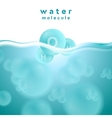 H2o blue water surface with molecule vector image