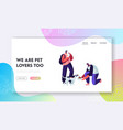happy people with cats and dogs feeding vector image