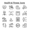 heath fitness diet icon set in thin line style vector image vector image