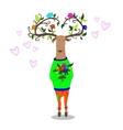 hipster deer falling in love vector image