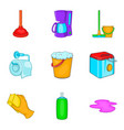 home cleaning icons set cartoon style vector image