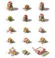 isometric restaurants types icons vector image