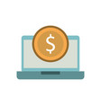 laptop with a dollar coin money ecommerce vector image vector image