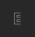 Letter E logo mocup monogram outline emblem design vector image