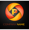 Letter P logo symbol in the colorful circle on vector image vector image