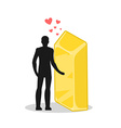 Lover gold Love in wealth Man and golden bullion vector image vector image