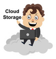 man on cloud on white background vector image vector image